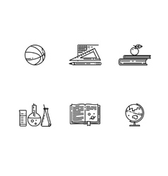 Set of school flat line icon vector