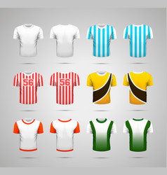set realistic sport t-shirts with bright vector image