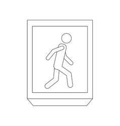 Silhouette rectangle contour with people walk vector
