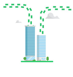 Skyscrapers finance center concept money flows vector