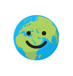 smiling cartoon flat globe vector image