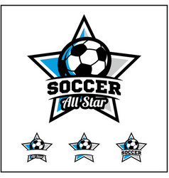 soccer ball all star badge logo vector image