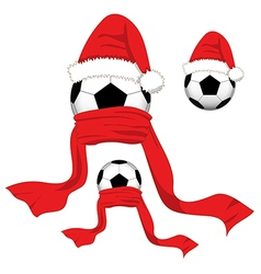 Soccer Ball Christmas Day Santa Hat vector image