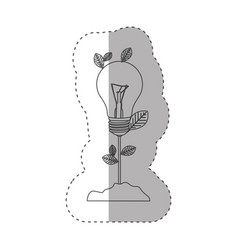 Sticker with grayscale contour with plant stem vector