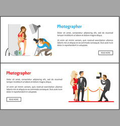 studio photographer and paparazzi banners set vector image