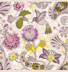 stylized flowers and birds seamless pattern vector image