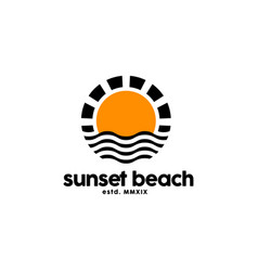 sunset logo design inspiration vector image