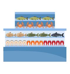 Supermarket seafood freezer fish shop vector