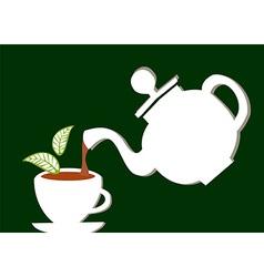 Teapot serving a cup of tea vector image