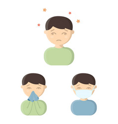 The sick man cartoon icons in set collection for vector