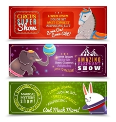 Travelling circus flat horizontal banners set vector