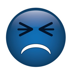 Unhappy face emoticon funny icon vector