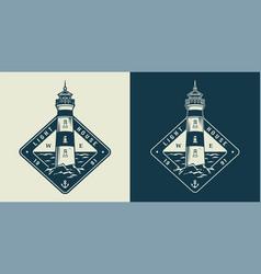 Vintage monochrome sea and nautical label vector