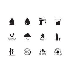 water icon rain splashes drops liquid drinks vector image