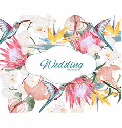 wedding invitation floral invite thank you card vector image