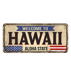 Welcome to hawaii vintage rusty metal sign vector