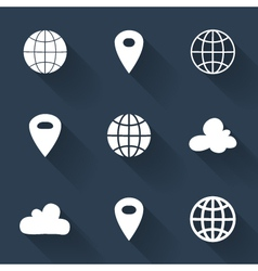 White map pin icons over blue vector