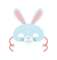 White Rabbit Animal Head Mask Kids Carnival vector
