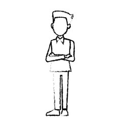 Young businessman standing with folded arms shirt vector