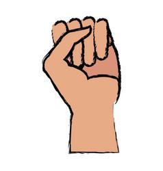human hand fist gesture emblem vector image