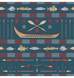 Indian fishing - seamless pattern vector image