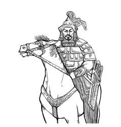 khan mongolian nomad on horseback vector image
