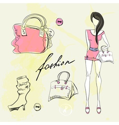 set of female fashion accessories vector image vector image