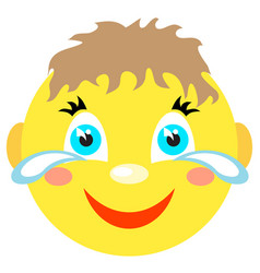 smiley boy laughs and cries vector image vector image