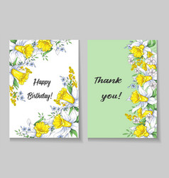 beautiful spring card with narcissus vector image