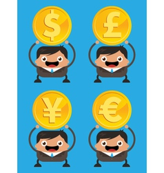 Business Men Holding Currency Gold Coins vector image