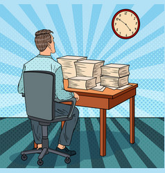 busy office worker with piles of papers pop art vector image vector image