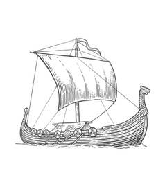 Drakkar floating on the sea waves vector image vector image
