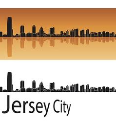 Jersey City skyline in orange background vector image vector image