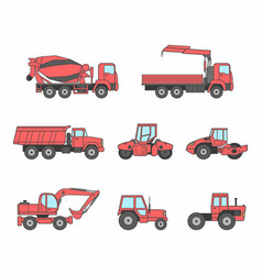 red construction machines icons set vector image vector image