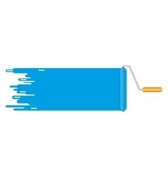 roller brush blue paint line copyspace for text vector image