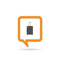 square orange speech bubble with travel bag vector image