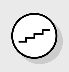 stair up sign flat black icon in white vector image vector image