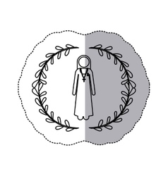 sticker slhouette arch of leaves and nun with vector image vector image