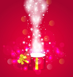 Christmas background with open magic gift box vector image