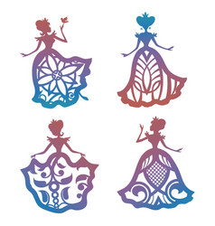 colorful princess silhouette in lacy dresses vector image