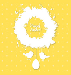 easter paper decoration in form of easter wreath vector image vector image
