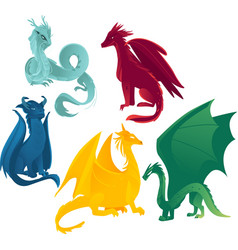 flat colored dragons set vector image