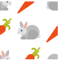 flat style seamless pattern with rabbit and carrot vector image vector image