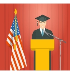 Graduation ceremony speech by a man graduate at vector