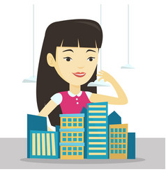 Real estate agent presenting city model vector
