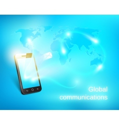 Smart phone sending out message vector image vector image