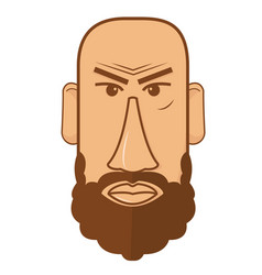 avatar of bald male with beard vector image