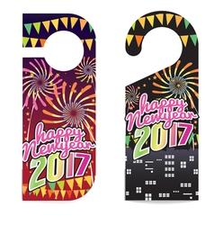Happy new year 2017 door hanger vector