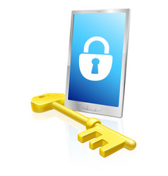 mobile phone lock and key vector image vector image