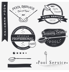 Pool Service Clean and Repair Set of Typographic vector image
